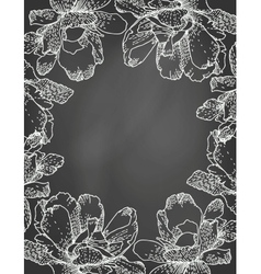 Floral frame on chalkboard vector