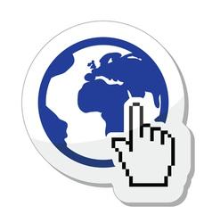 Globe earth with cursor hand icon vector image
