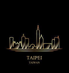 gold silhouette taipei on black background vector image