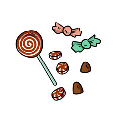 hand drawn christmas cartoon sweets doodles vector image