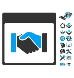 Handshake Calendar Page Icon With Bonus vector