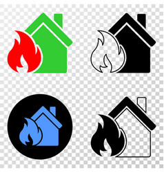 house fire damage eps icon with contour vector image