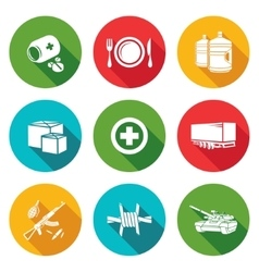 Humanitarian relief Icons Set vector