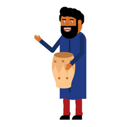 Indian man playing a musical instrument vector