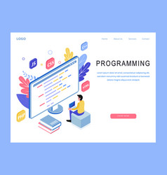 Isometric programming landing page design vector