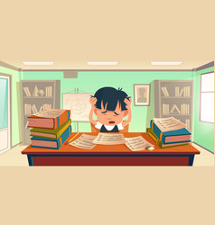 kid got stress doing homework or prepare for exam vector image