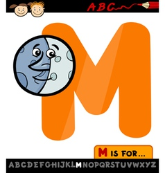 letter m with moon cartoon vector image