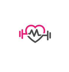 Love fit with pulse logo letter m vector