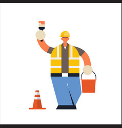 male builder painter holding paint brush and vector image