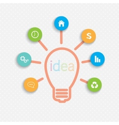 Modern infographic network template Idea Lightbulb vector image