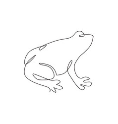 one single line drawing cute frog for company vector image