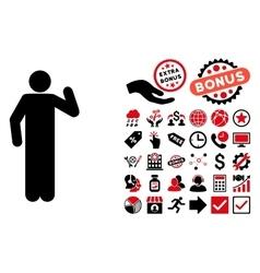 Opinion Pose Flat Icon with Bonus vector