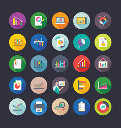 Pack reports and charts flat icons vector