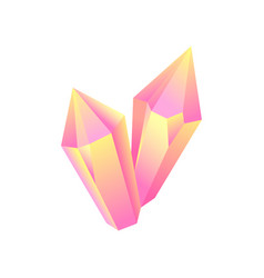 Pink iridescent stone mineral crystal gem vector