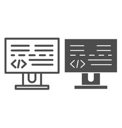 programming line and glyph icon development vector image