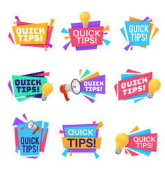 Quick tip helpful tricks and advice blog vector