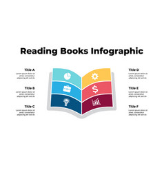 Reading books infographic education concept 6 vector