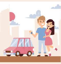 romantic couple with new car vector image