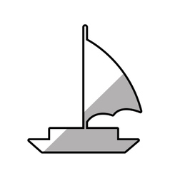 Sailboat recreation travel line shadow vector