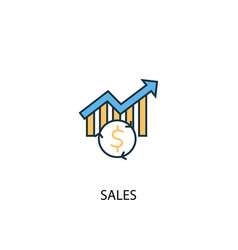 Sales concept 2 colored line icon simple yellow vector
