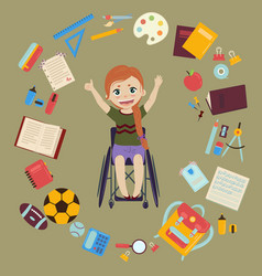 schoolgirl in wheelchair with school supplies vector image