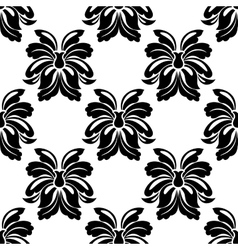 Seamless floral pattern in black and white vector image
