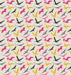 Seamless pattern of flying birds vector