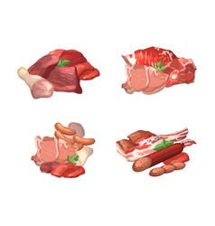 set cartoon meat elements piles vector image
