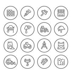 set round line icons of constructing industry vector image