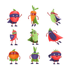 superhero vegetables funny cartoon comic healthy vector image