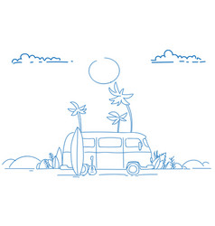 surf bus sunset tropical beach retro surfing vector image