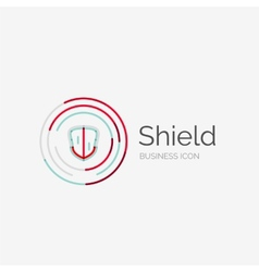 Thin line neat design logo shield icon vector