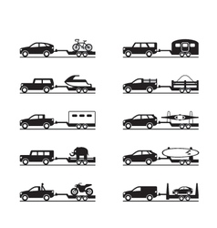 Vans and pickup trucks with trailers vector