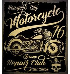 vintage motorcycle hand drawn grunge vintage with vector image