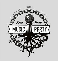 vintage music emblem octopus tentacles and vector image