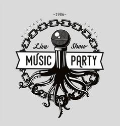 Vintage music emblem octopus tentacles vector