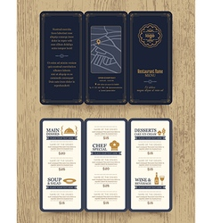 Vintage Restaurant menu design pamphlet vector image