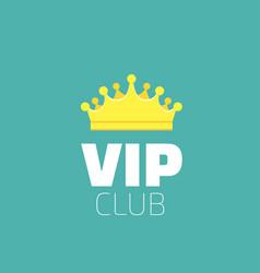 Vip club logo with royal golden king crown diadem vector