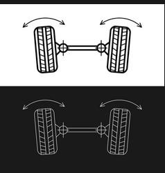 Wheel alignment line icon car suspension angles vector