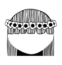 Woman with flowers in the hair icon vector