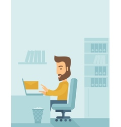 Young man sitting infront of a computer laptop vector