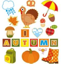 Autumn Set Textile Element vector image vector image
