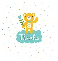 Bear says thanks vector image vector image