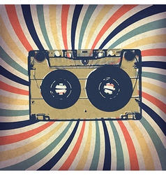 Grunge music background Audio cassette on rays vector image