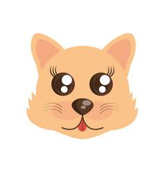 kawaii face wolf animal fun vector image