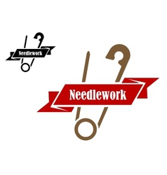 Safety pin sewing symbol vector image