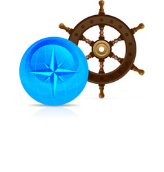 Steering wheel with Globe and compass vector image
