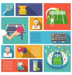 Tennis icons flat vector image vector image