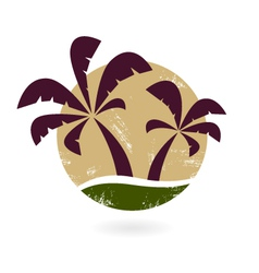 Vintage palm silhouette isolated on white vector image vector image