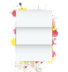 white paper on splatter background vector image vector image